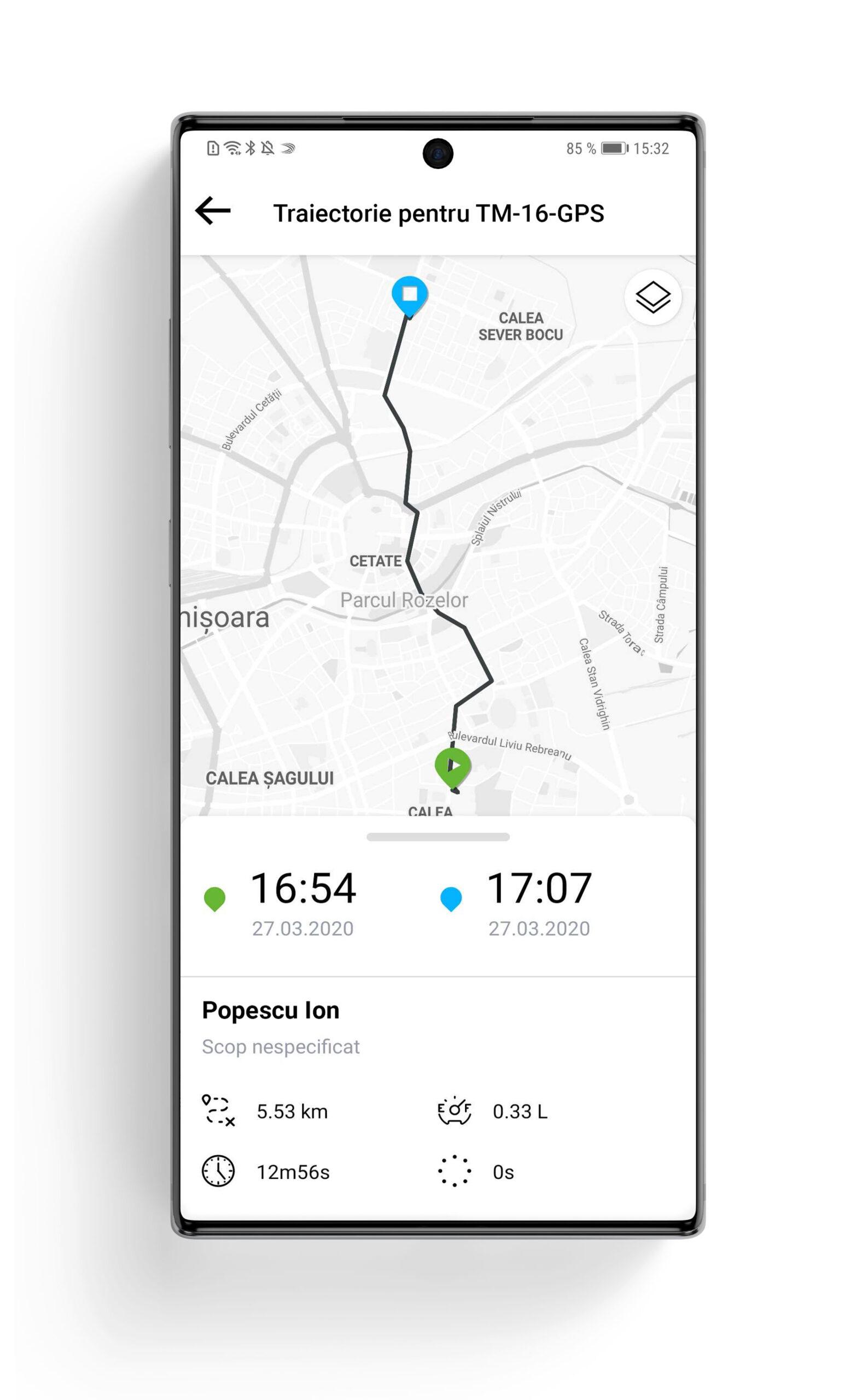 trasee flota auto - aplicatie mobila fliGO SafeFleet